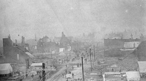 Great Fire- looking east on Riverside (MAC L86-1064)