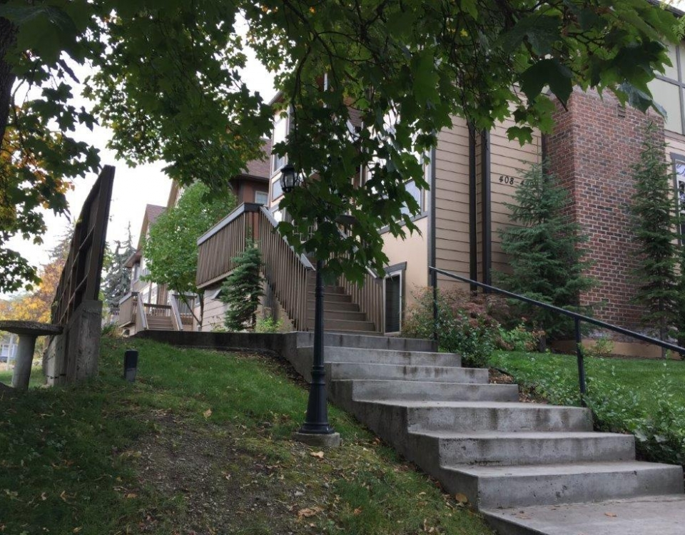 steps and elevation, south building